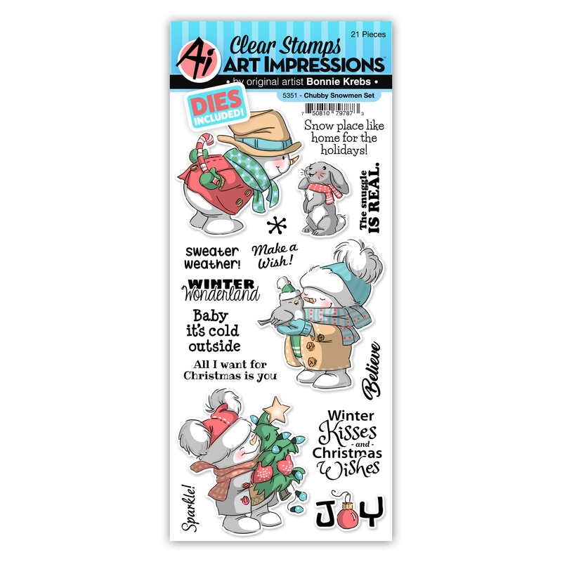 Art Impressions CHUBBY SNOWMAN Clear Stamp and Die Set 5351 zoom image