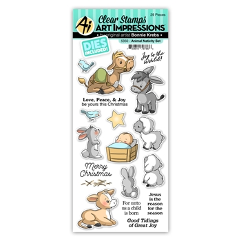 Art Impressions ANIMAL NATIVITY Clear Stamp and Die Set 5350