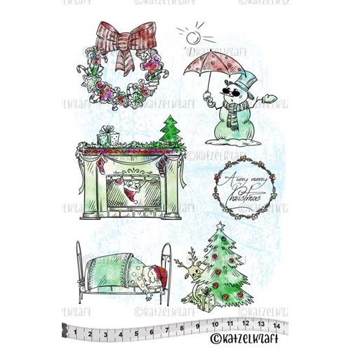 Katzelkraft A VERY MERRY CHRISTMAS Red Rubber Unmounted Stamp KTZ158* Preview Image