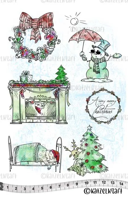 Katzelkraft A VERY MERRY CHRISTMAS Red Rubber Unmounted Stamp KTZ158* zoom image