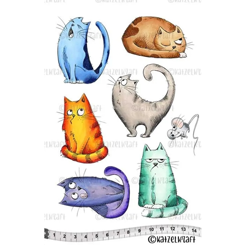 Katzelkraft LES CHATS RUSSES Red Rubber Unmounted Stamp KTZ152 Preview Image