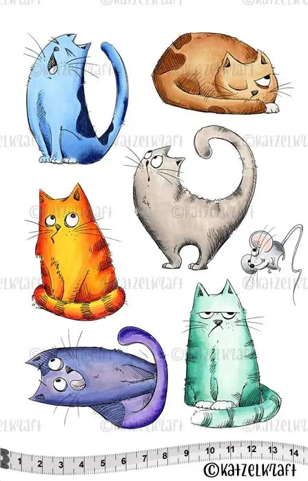 Katzelkraft LES CHATS RUSSES Red Rubber Unmounted Stamp KTZ152 zoom image