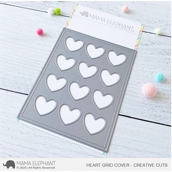 Mama Elephant HEART GRID COVER Creative Cuts Steel Dies