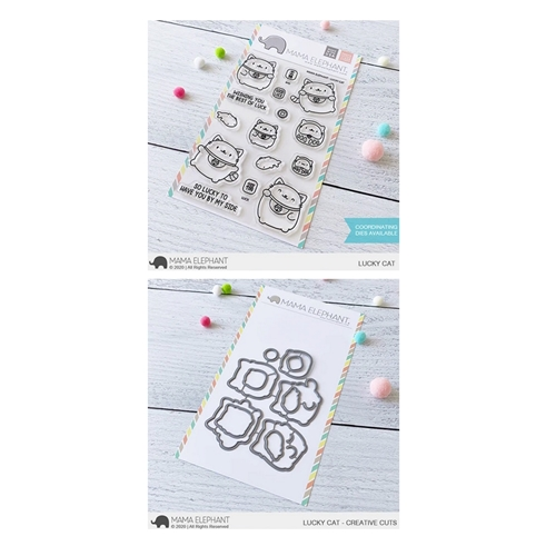 Mama Elephant Clear Stamp and Die MEPT866 Lucky Cat SET Preview Image