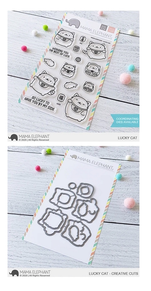 Mama Elephant Clear Stamp and Die MEPT866 Lucky Cat SET zoom image