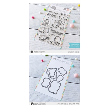 Mama Elephant Clear Stamp and Die MEPT872 MAMMOTH LOVE SET