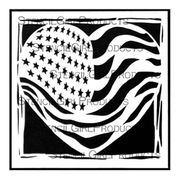 StencilGirl LIBERTY AND JUSTICE FOR ALL 6x6 Stencil s832