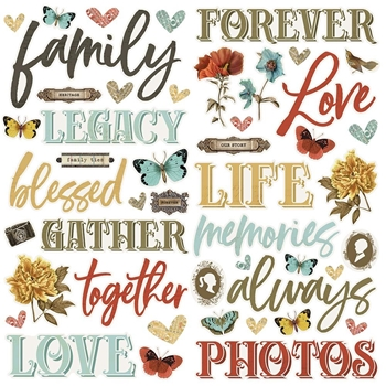 Simple Stories VINTAGE ANCESTRY Foam Stickers 14126