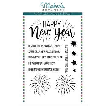 Maker's Movement SARCASTIC NEW YEAR Clear Stamp Set mos231
