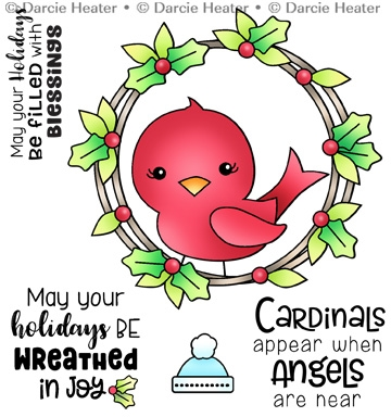 Darcie's CARDINAL IN WREATH Clear Stamp Set pol478 Preview Image
