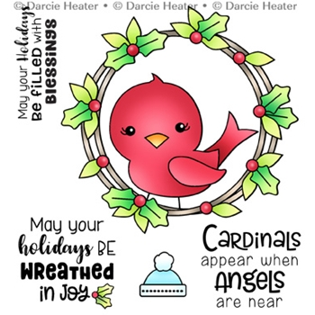 Darcie's CARDINAL IN WREATH Clear Stamp Set pol478