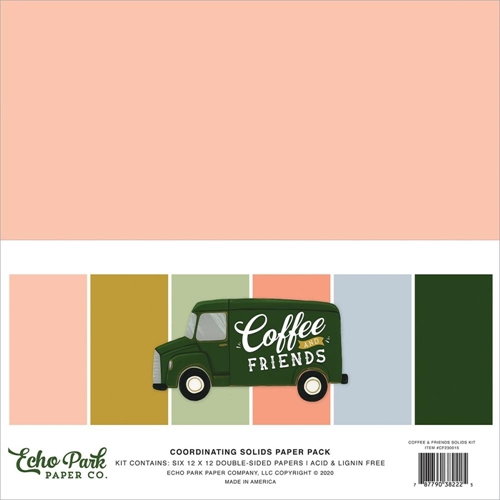 Echo Park COFFEE AND FRIENDS 12 x 12 Solids Paper Pack cf230015 Preview Image