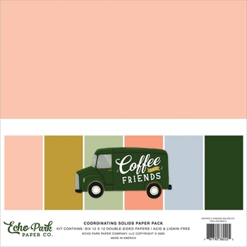 Echo Park COFFEE AND FRIENDS 12 x 12 Solids Paper Pack cf230015