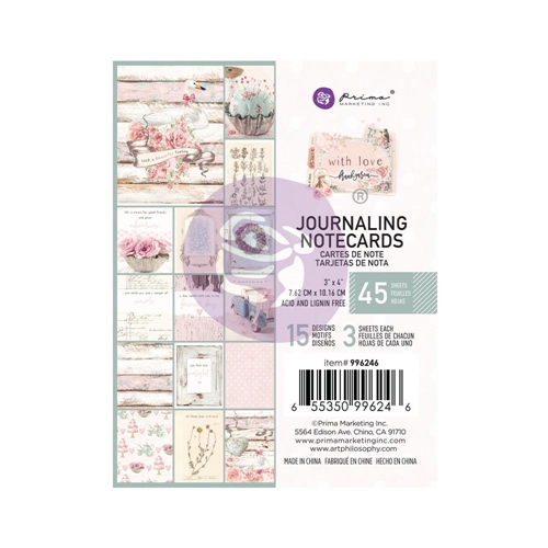 Prima Flowers WITH LOVE 3 X 4 Journaling Notecards 996246 Preview Image
