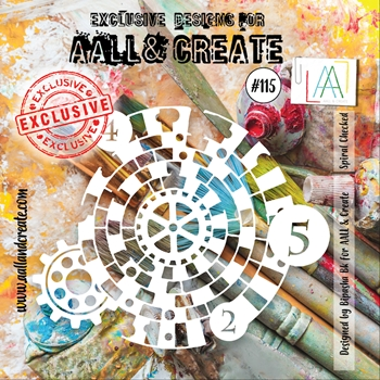 AALL & Create SPIRAL CHECKED 6x6 Stencil aal10115