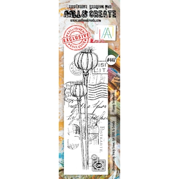 AALL & Create POPPY SEEDHEADS BORDER Clear Stamp aal00447