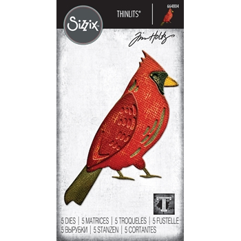 *GIFT WITH TIM HOLTZ PURCHASE* Exclusive Sizzix FEATHERED CARDINAL Thinlits Dies 664804