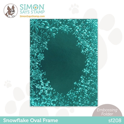 Simon Says Stamp Embossing Folder SNOWFLAKE OVAL FRAME sf208 Preview Image
