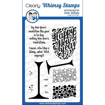 Whimsy Stamps HAPPY NEW YEAR Clear Stamps CWSD353