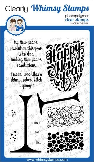 Whimsy Stamps HAPPY NEW YEAR Clear Stamps CWSD353 zoom image
