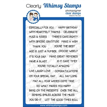 Whimsy Stamps SIMPLE SENTIMENT STRIPS Clear Stamps