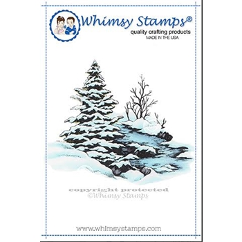 Whimsy Stamps SNOWY RIVER Cling Stamp DA1153