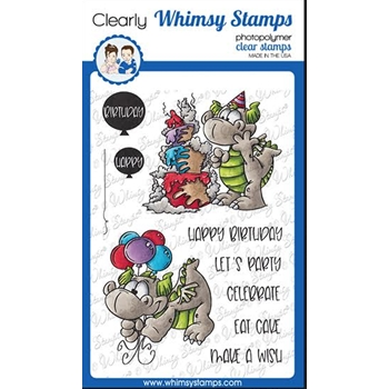 Whimsy Stamps BIRFDAY PARTY DRAGONS Clear Stamps DP1055