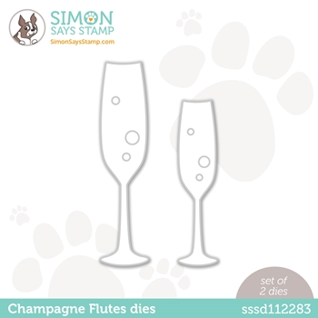Simon Says Stamp CHAMPAGNE FLUTES Wafer Dies sssd112283 Diecember