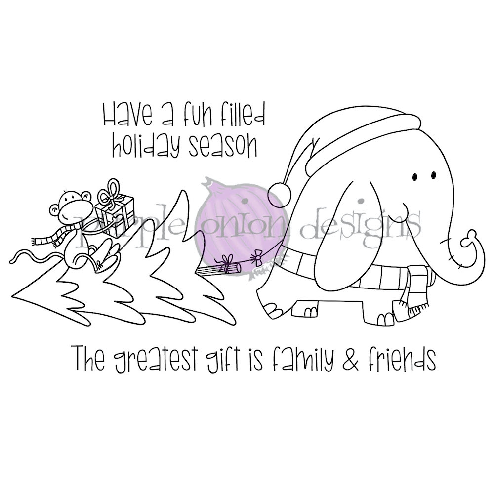 Purple Onion Designs HOLIDAY SHOPPING Cling Stamp pod3033 zoom image