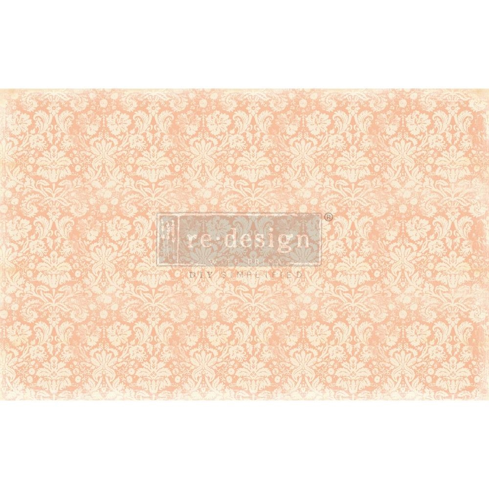 Prima Marketing PEACH DAMASK Redesign Decoupage Decor Tissue Paper 649098 zoom image
