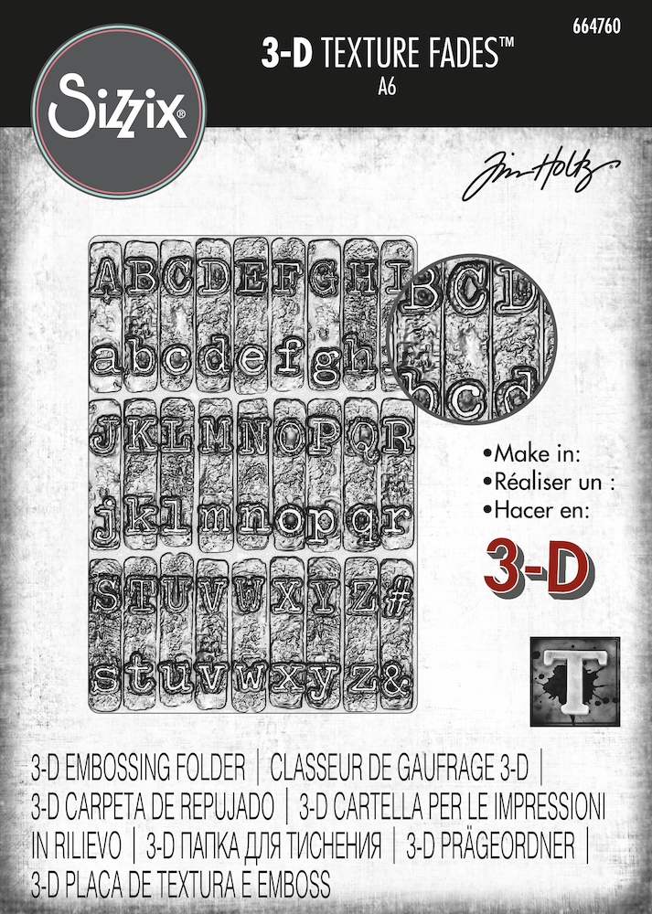 Tim Holtz Sizzix TYPEWRITER 3D Texture Fades Embossing Folder 664760 zoom image