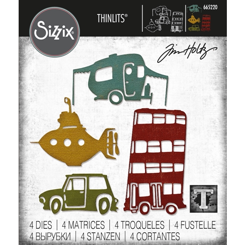 Tim Holtz Sizzix WACKY TRANSPORT 1 Thinlits Dies 665220 Preview Image