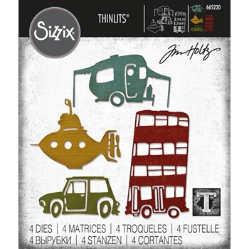 Tim Holtz Sizzix WACKY TRANSPORT 1 Thinlits Dies 665220