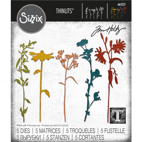 Tim Holtz Sizzix WILDFLOWER STEMS 3 Thinlits Dies 665221 Preview Image