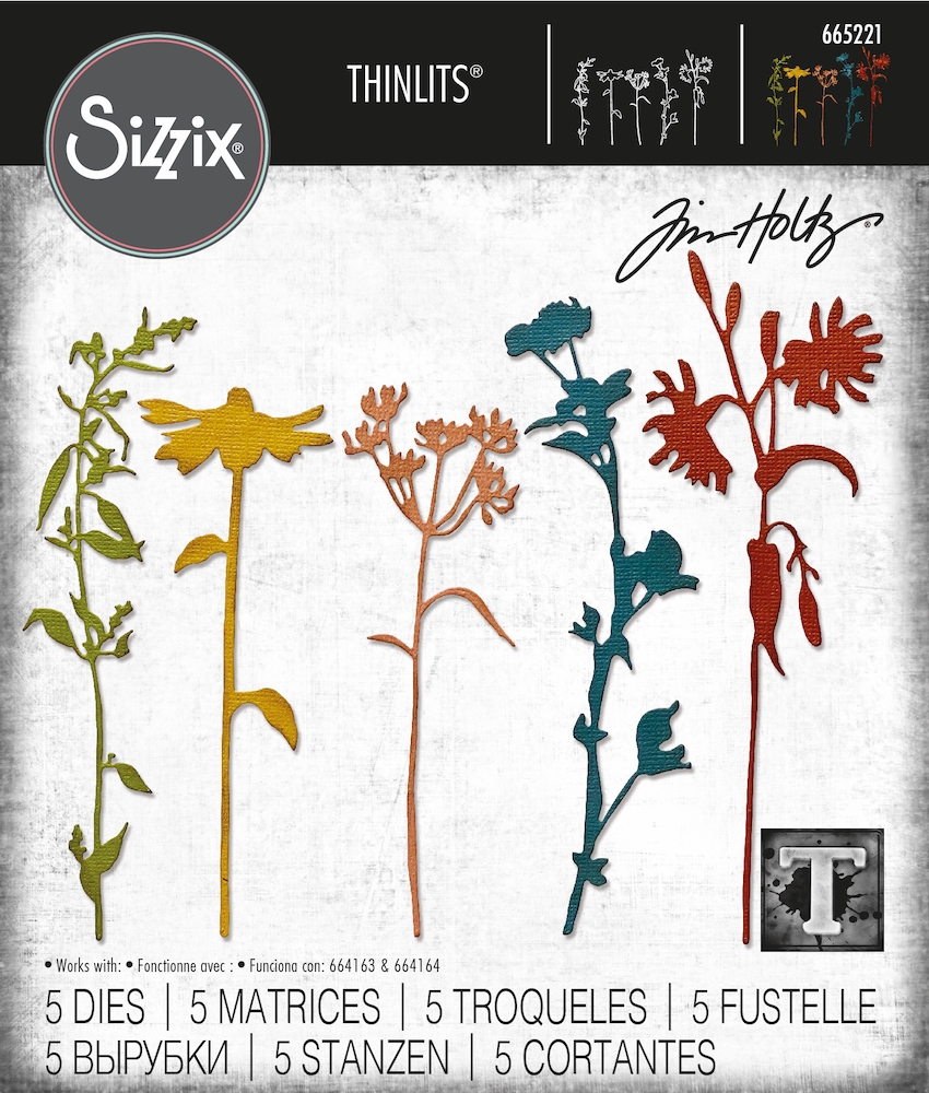 Tim Holtz Sizzix WILDFLOWER STEMS 3 Thinlits Dies 665221 zoom image