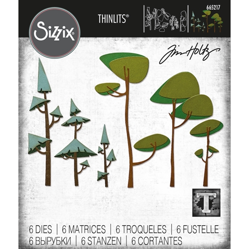 Tim Holtz Sizzix FUNKY TREES Thinlits Dies 665217 Preview Image