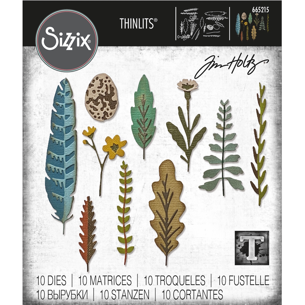 Tim Holtz Sizzix FUNKY NATURE Thinlits Dies 665215 zoom image