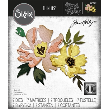 Tim Holtz Sizzix BRUSHSTROKE FLOWERS 1 Thinlits Dies 665209