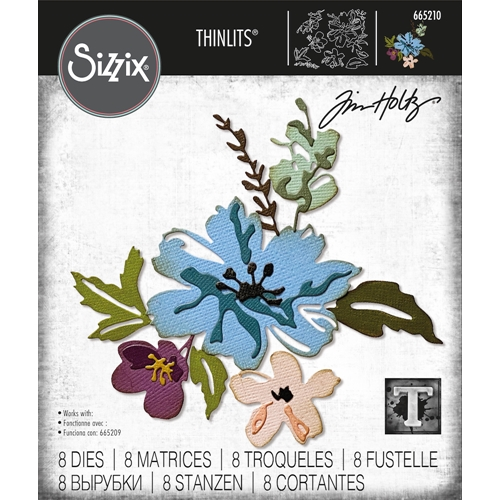 Tim Holtz Sizzix BRUSHSTROKE FLOWERS 2 Thinlits Dies 665210 Preview Image