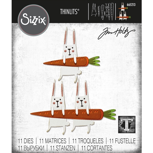 Tim Holtz Sizzix CARROT BUNNY Thinlits 665213 Preview Image