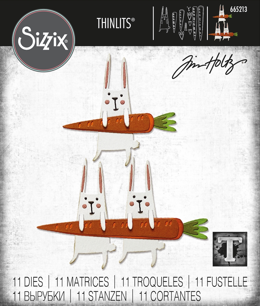 Tim Holtz Sizzix CARROT BUNNY Thinlits 665213 zoom image
