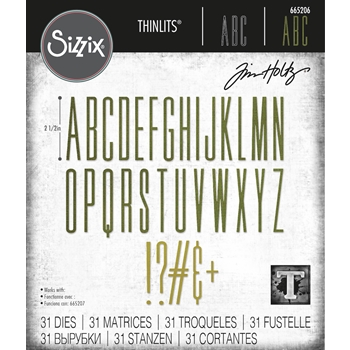 Tim Holtz Sizzix ALPHANUMERIC STRETCH UPPER Thinlits Dies 665206