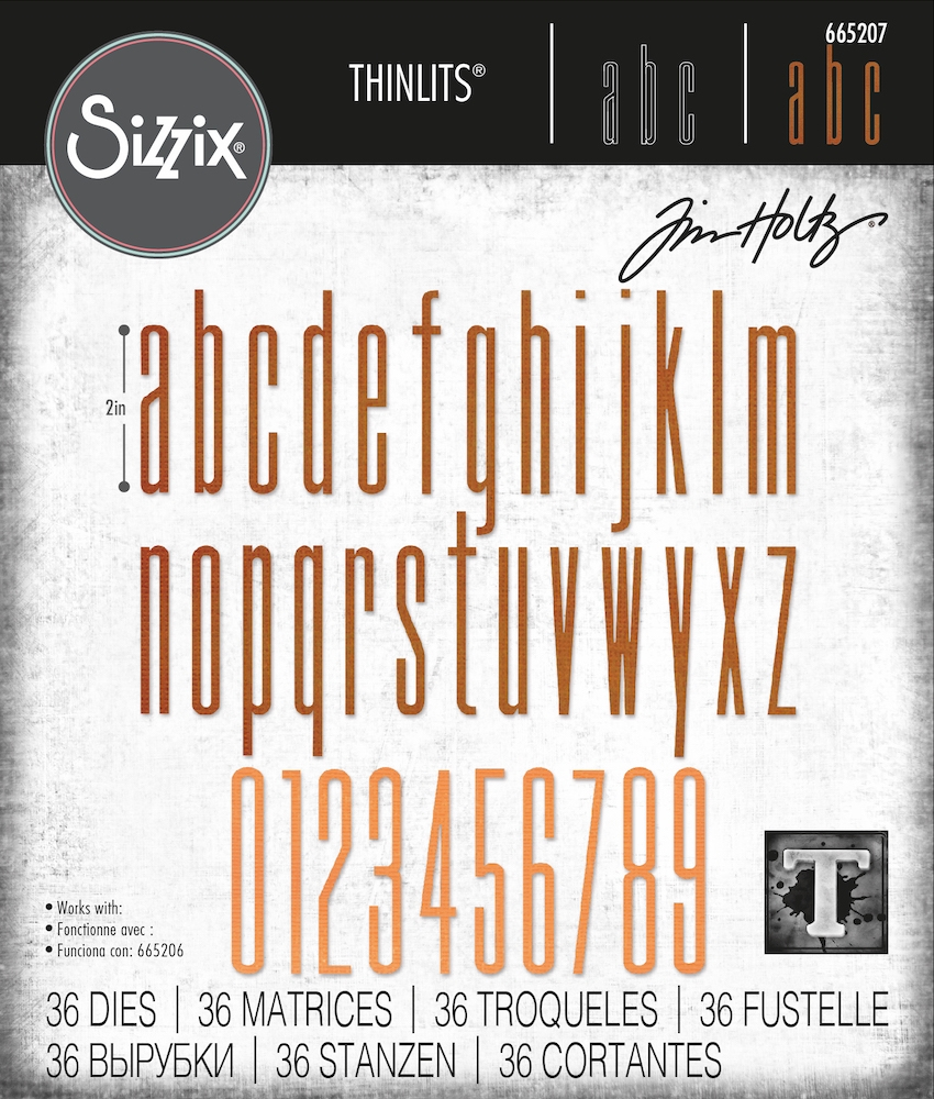 Tim Holtz Sizzix ALPHANUMERIC STRETCH LOWER AND NUMBERS Thinlits Dies 665207 zoom image