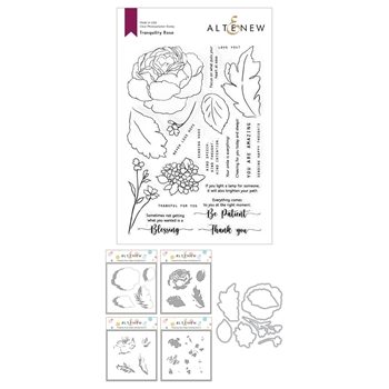 Altenew TRANQUILITY ROSE Clear Stamp, Die and Coloring Stencil Bundle ALT4687