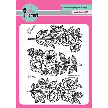 Pink and Main TALL FLOWERS Clear Stamps pm0426