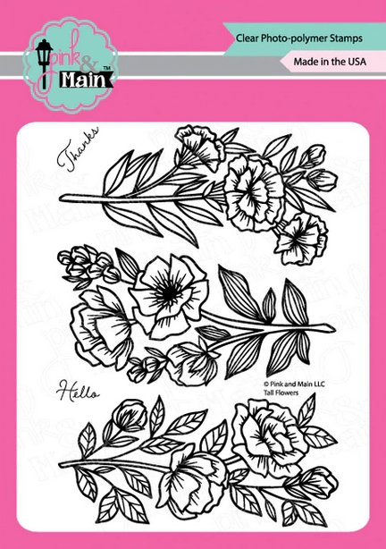 Pink and Main TALL FLOWERS Clear Stamps pm0426 zoom image