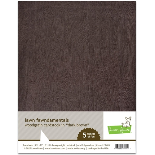 Lawn Fawn DARK BROWN WOODGRAIN 8.5 x 11 Inch Cardstock lf2483 Preview Image