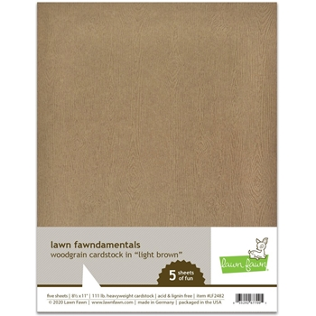 Lawn Fawn LIGHT BROWN WOODGRAIN 8.5 x 11 Inch Cardstock lf2482