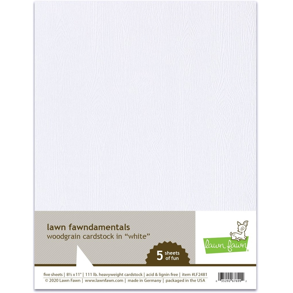 Lawn Fawn WHITE WOODGRAIN 8.5 x 11 Inch Cardstock lf2481 zoom image