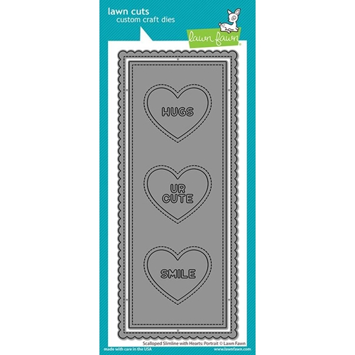 Lawn Fawn PORTRAIT SCALLOPED SLIMLINE WITH HEARTS Die Cuts lf2477 Preview Image